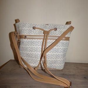 Giani Bernini Bags - Giani Bernini Block Signature Bucket Bag, Ivory